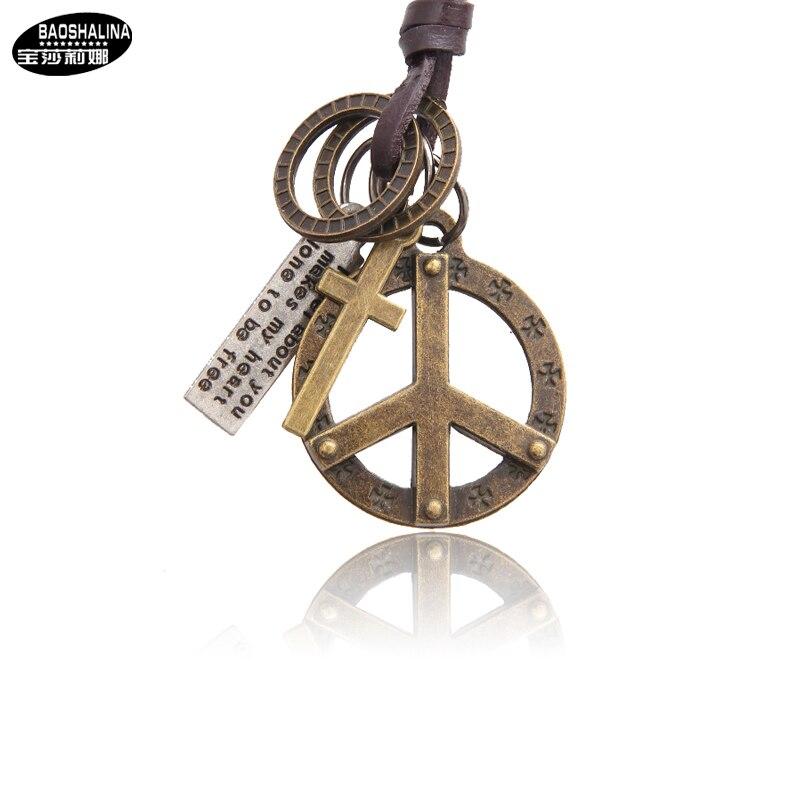 Necklaces /& Pendants Antique Vintage Cross Dog Tag Hollow Peace Symbol Pendant Necklace Men Long Brown Leather Necklace Cord Men Jewelry Accessories