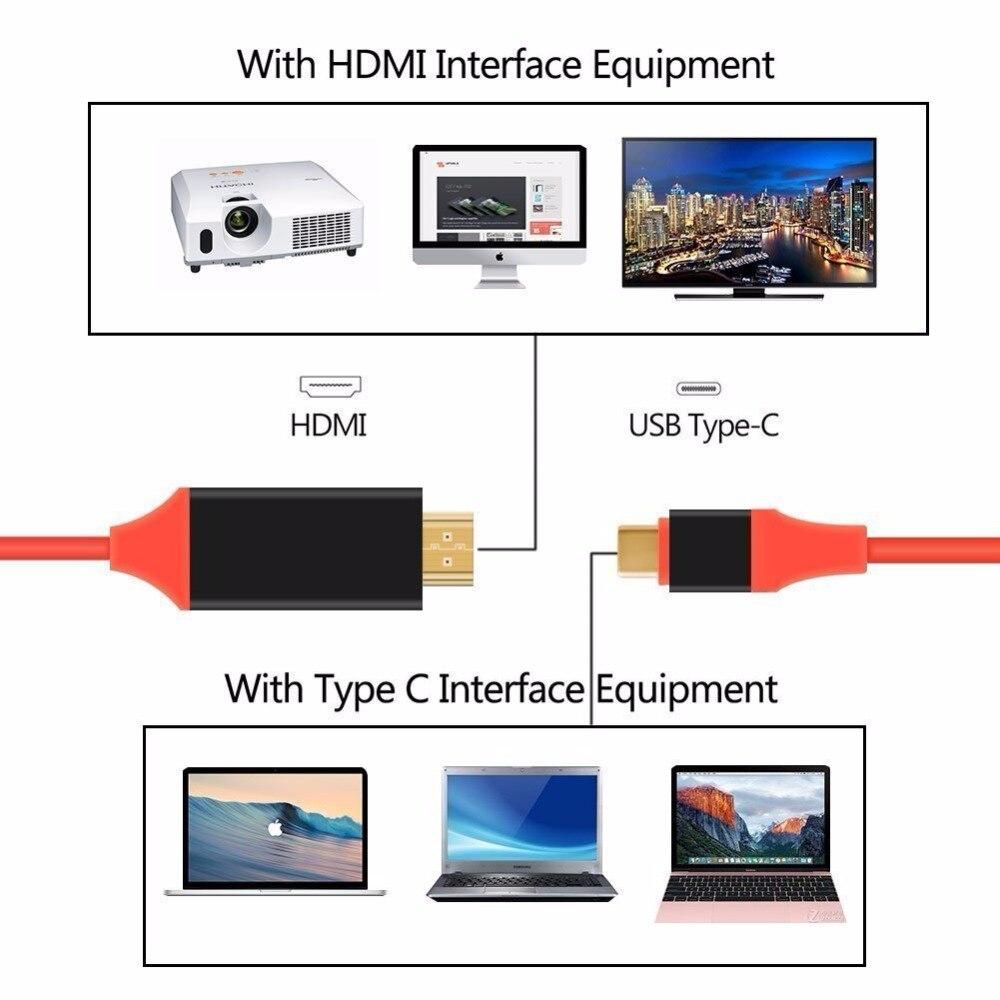 USB 3.1 USB C zu Hdmi kabel Typ C zu HDMI Konverter 4 Karat 30Hz UHD ...