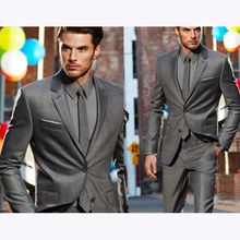 2017 new Custom made dark grey classic groom mens suit dress terno masculino best gray wedding suits for men (jacket+pants)