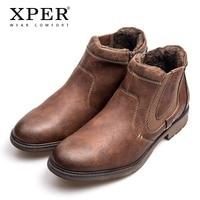 XPER Brand Fashion Leather Chelsea Boots Men Winter Autumn Shoes Retro Fur Zipper Ankle Boots Plus Size Waterproof #XHY12506BR