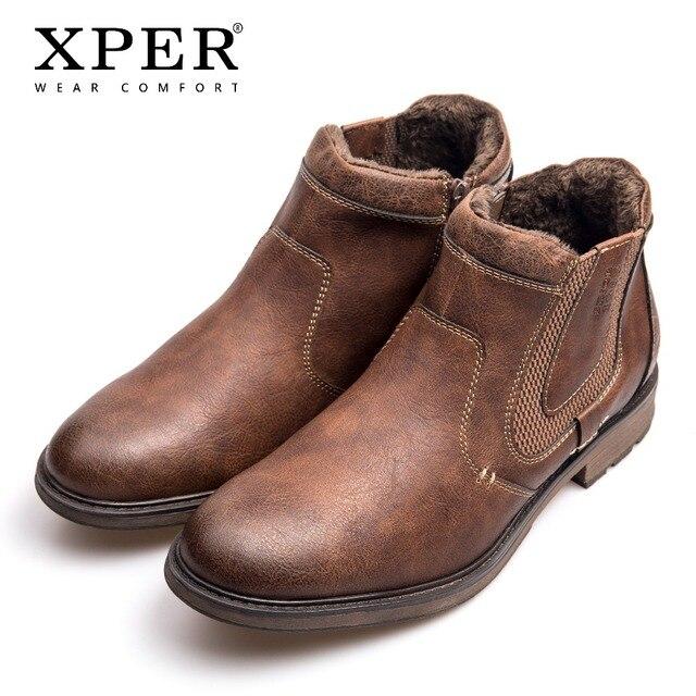 XPER Marka Moda Deri Chelsea Çizmeler Erkekler Kış Sonbahar Ayakkabı Retro Kürk Fermuar yarım çizmeler Artı Boyutu Su Geçirmez # XHY12506BR