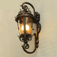 On Sale Vintage Retro European Cottage Iron Glass E27 Outdoor Wall Lamp For Entrance Park Balcony Deco Waterproof Porch Light