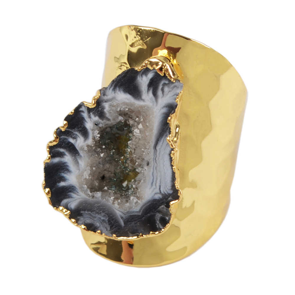 BOROSA 1PCS Druzy Freeform คริสตัล Drusy วงแหวนเปิด, ทอง/เงินสีแฟชั่นธรรมชาติอัญมณีแหวนสำหรับ Party 1388