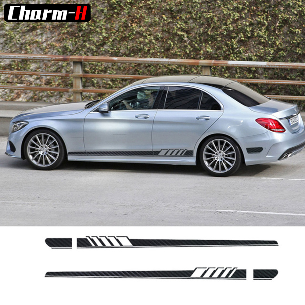 AMG Edition C63 Edition 1 Side Stripe Decals Stickers for Mercedes Benz W205 C Class C180 C200 5D Carbon Fibre/Yellow/White/Grey c63 amg style replacement mercedes w205 carbon fiber spoiler for 2015 2016 2017 benz c class 4 door trunk lid