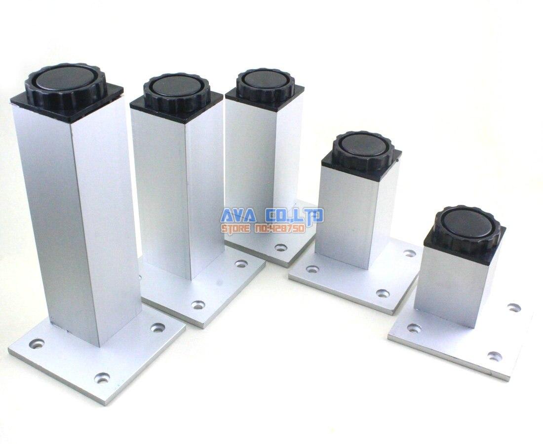 4 Pieces 150mm Adjustable Aluminum Square Furniture Cabinet Leg Cupboard Table Feet