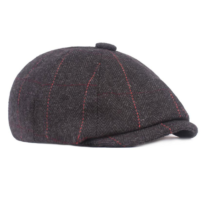 Fashion Men Berets Caps For Men Autumn Winter Adults Male Newsboy Flat Cap Peaked Herringbone Pattern Beret Hat Stripe Casquette