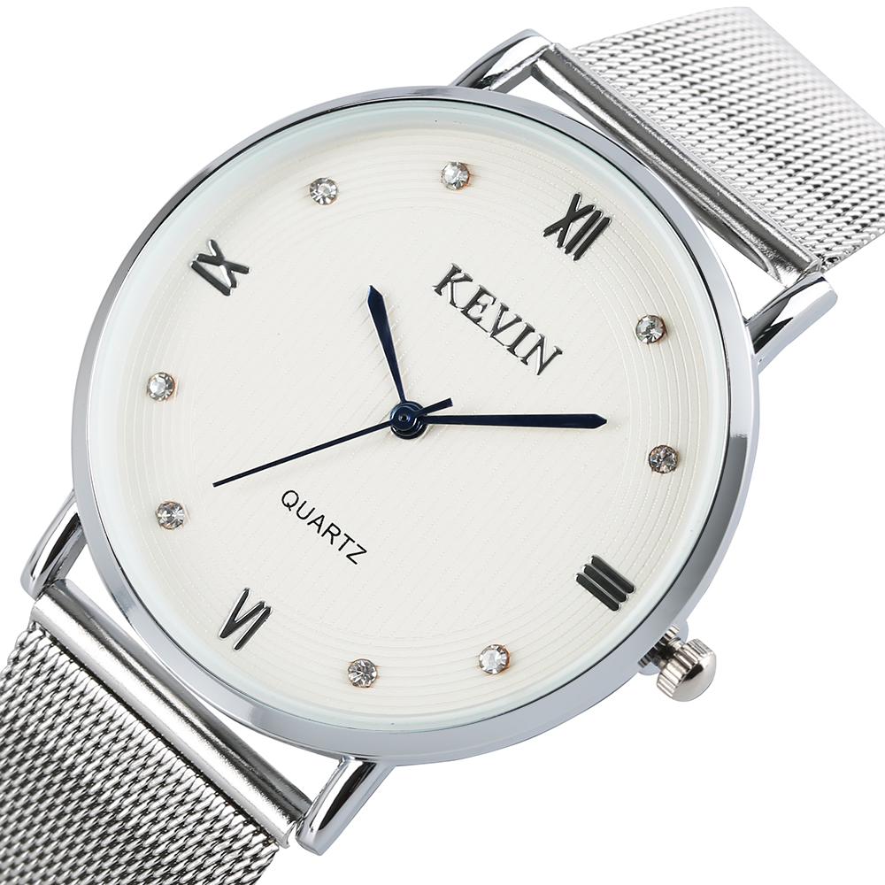 KEVIN Women Quartz Wrist Watch Silver Stainless Steel Mesh Band Strap/Leather Watches Roman Numerals Clock Simple Sport Watches kevin simple style elegant mesh stainless steel band strap quartz wrist watch men women watches neuter clock hours gift relogio