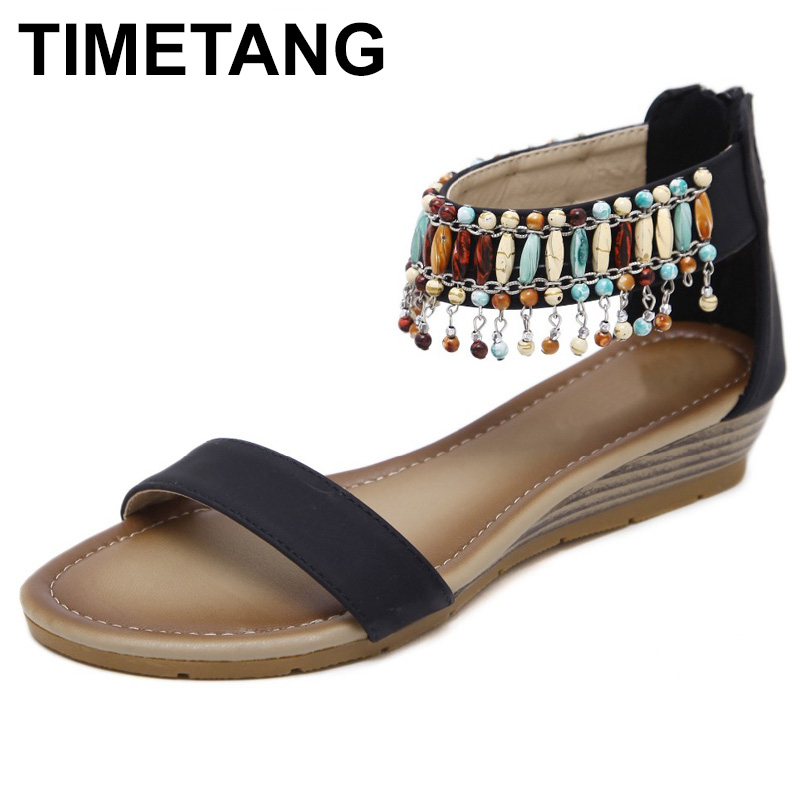 TIMETANG Women Ethnic Bohemia Wedge Sandals Shoes Woman String Bead Beach Sandals Casual Gladiator Shoes size 35-42  C073 phyanic 2017 gladiator sandals gold silver shoes woman summer platform wedges glitters creepers casual women shoes phy3323