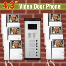 6 unit Apartment Video Door Phone Intercom System 4.3″ visual Intercom For Apartments video Doorbell Doorphone Interphone kit
