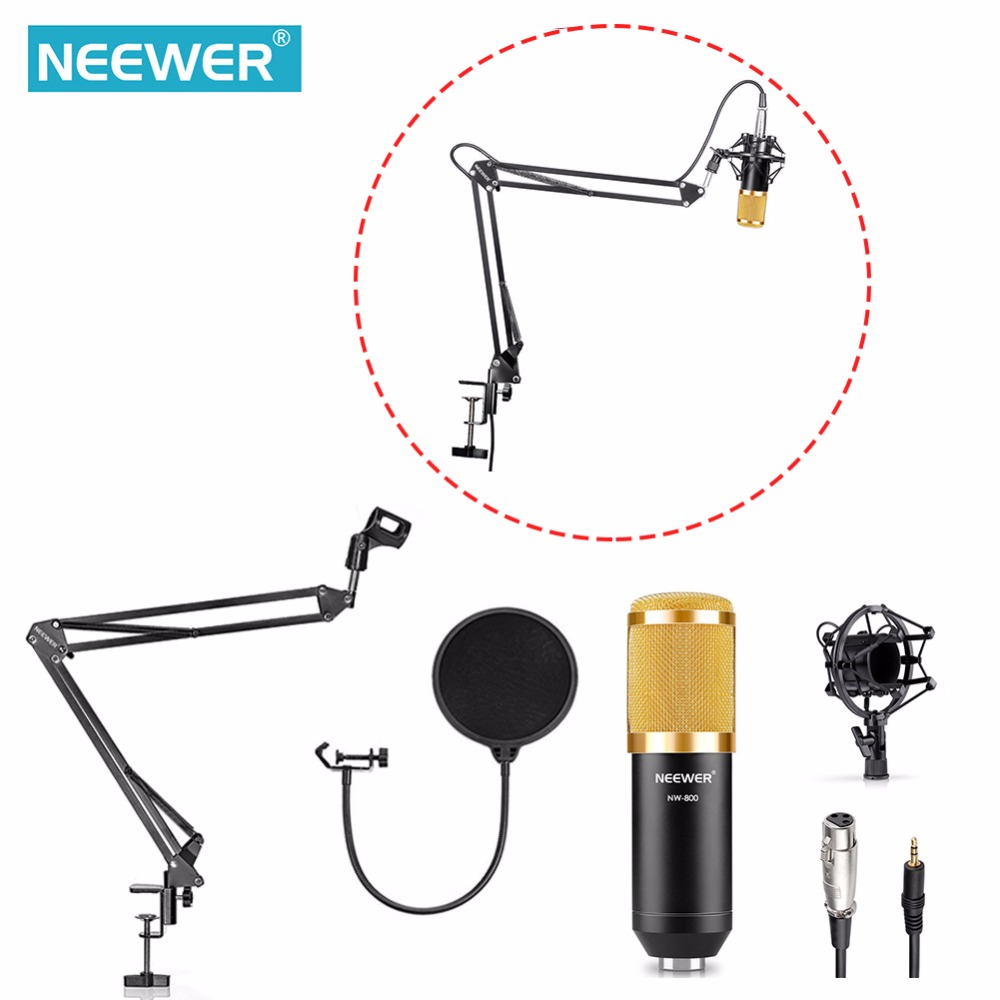 Neewer NW 800 Studio Broadcasting Recording Condenser Microphone NW35 Adjustable Suspension Scissor Arm Stand Mounting Clamp
