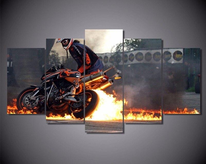 5 Панель стены Книги по искусству холст огня картина на мотоцикле плакат Картины стены Рождество Фотографии Декор для Гостиная