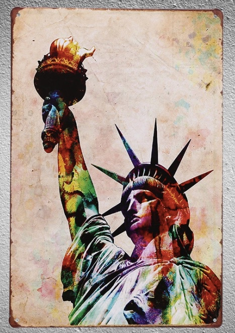 1 pc USA Status of liberty America Tin Plate Sign wall man cave Decoration Art Poster metal vintage home