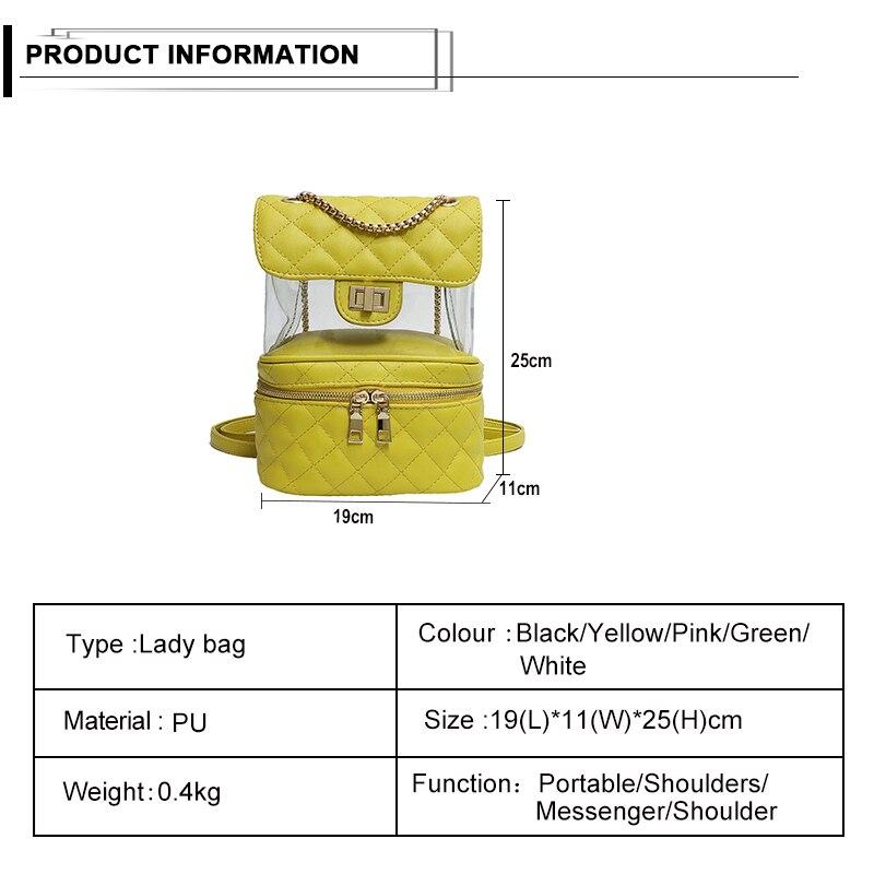 f8b9296e8c92 Fashion Design Women Solid Color Backpack Transparent Small Square ...
