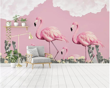 Beibehang Custom wallpaper Nordic simple small fresh flamingo cactus romantic mural decorative painting 3d tapety
