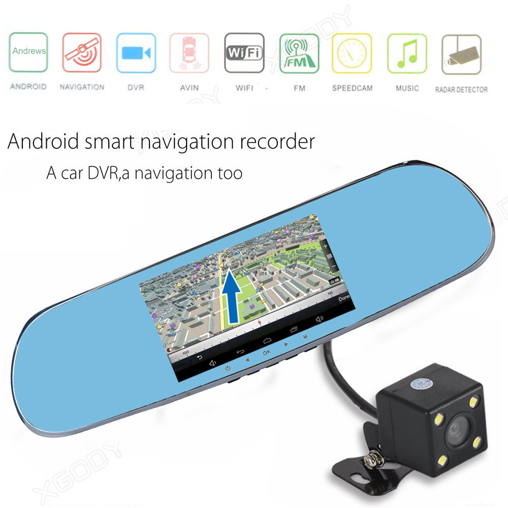 Quad Core 5 Android 4.0 Car Rearview Mirror GPS 1080P DVR +Wifi +Backup Camera 17Nove7