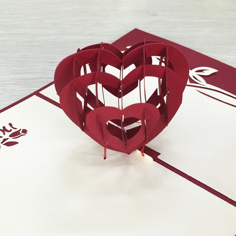 1pcs Sample Red Heart 3D Laser Cut Paper Cutting Greeting Pop Up Card Wedding Ivitation Custom Postcards VValentine's Day Gifts (3)