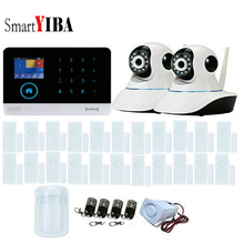 SmartYIBA IOS Android APP Control WIFI Security Alarm System+22pcs Door Window Sensor+2 IP Cameras RFID GSM SMS Alarm Kits