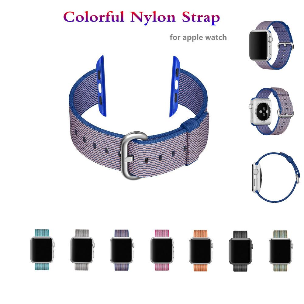 Prix pour Pour apple montre de courroie de bande 42mm/38mm Tissé Nylon bracelet Sport-bracelet braclet Tissu-feel metal seau ceinture pour iwatch 2/1