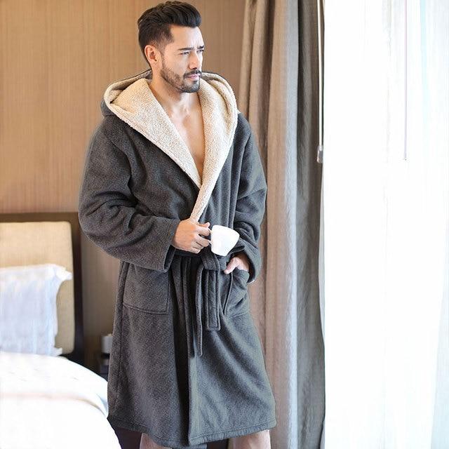 Men s Winter Coral Velvet Hooded Robe Male Warm Long Bathrobes Comfort Gray  Bath Robe ... 2a807de9d