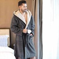 Men's Winter Coral Velvet Hooded Robe Male Warm Long Bathrobes Comfort Gray Bath Robe Vs T