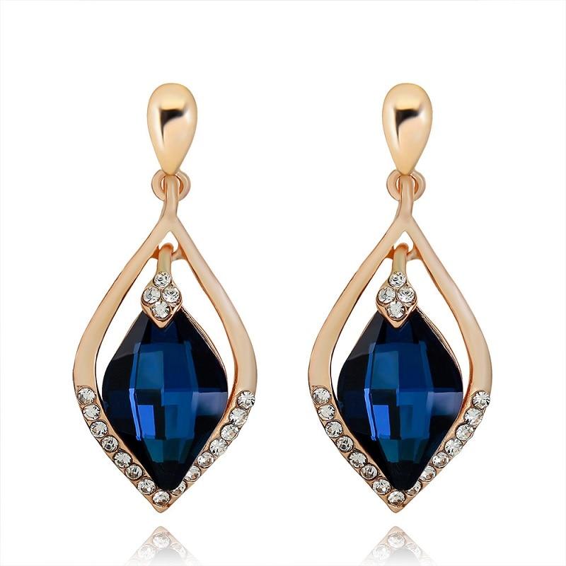 Fashion Creative Water Drop Shape Design Blue Crystal