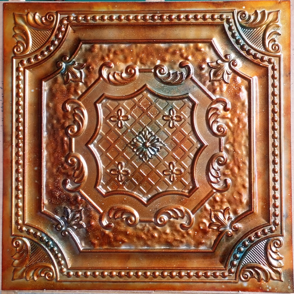 pl04 faux tin metallic ancientry copper ceiling tiles interior wall paneling store cafe pub wall board 10tiles lot