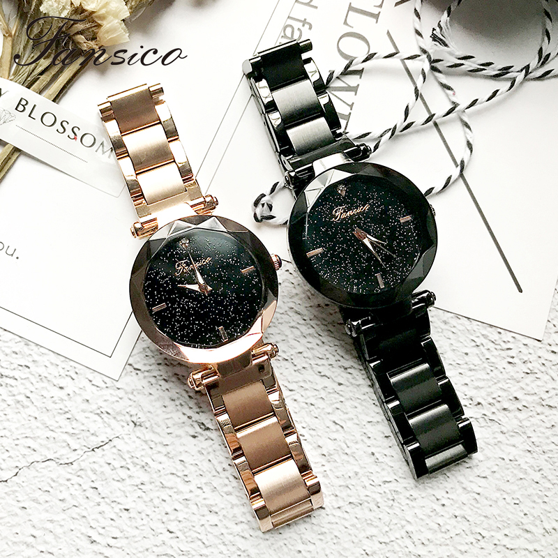 Fansico Luxury Women Watch Alloy Lady Dress Watches Girl Women Quartz Wrist Watch Wristwatch Steel Band Gifts Dropshipping