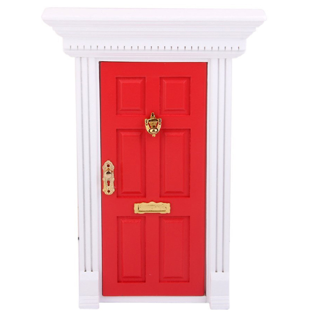 Etonnant 1/12 Dollhouse Miniature Luxury Wooden Red Exterior Door 6 Panel W Key