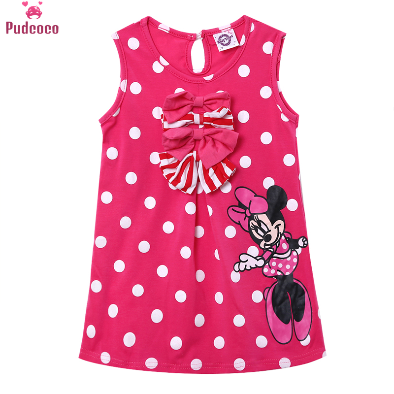 Pudcoco Cute Minnie Mouse Dresses For Baby Kid Girls Princess Dress Cartoon Bow Polka Dot Baby Girls Clothes 1-5T simba пупс minnie mouse