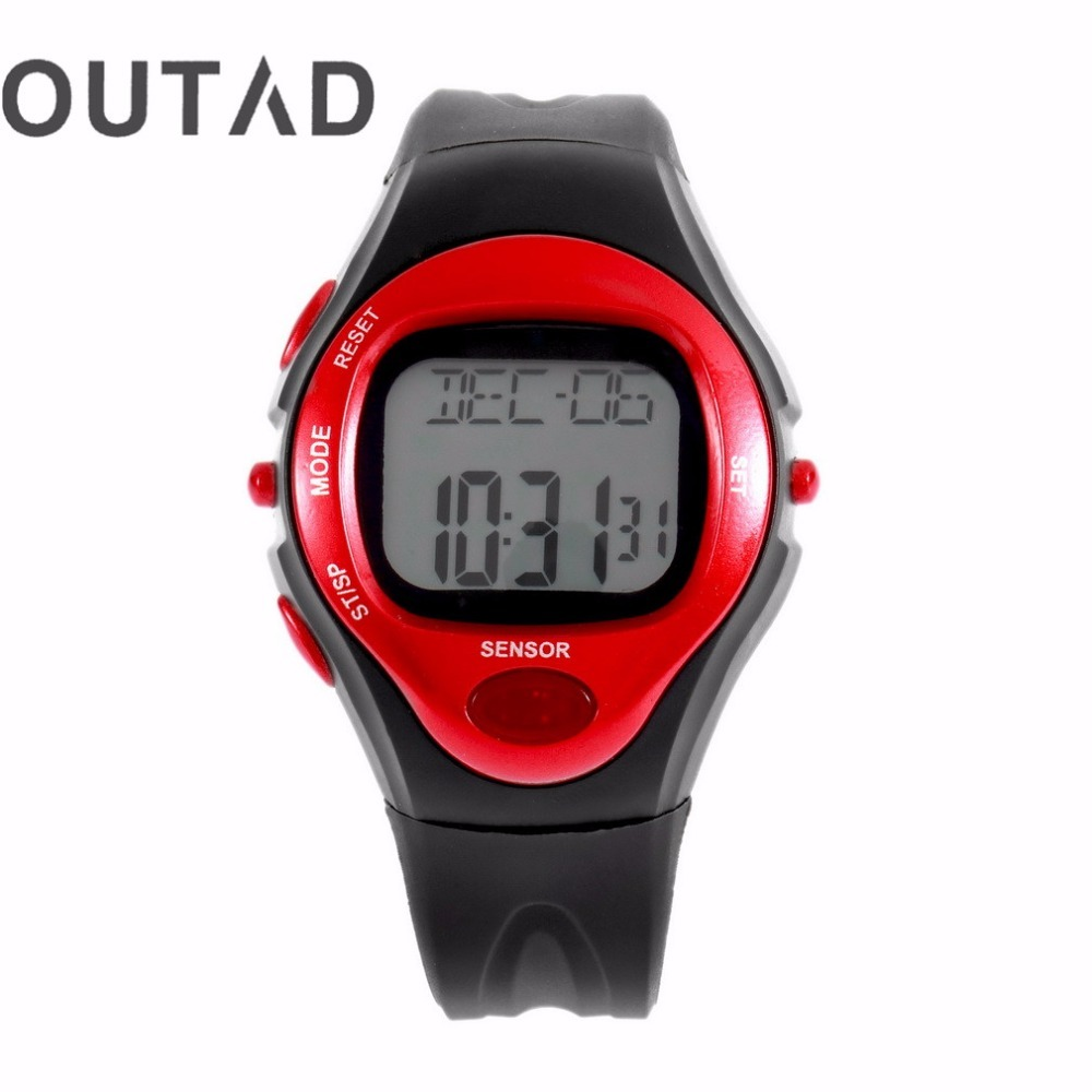 OUTAD 3 Colors Pulse Heart Rate Monitor Calories Counter Fitness Watch Digital Wristwatches Calendar Display Time Relogio