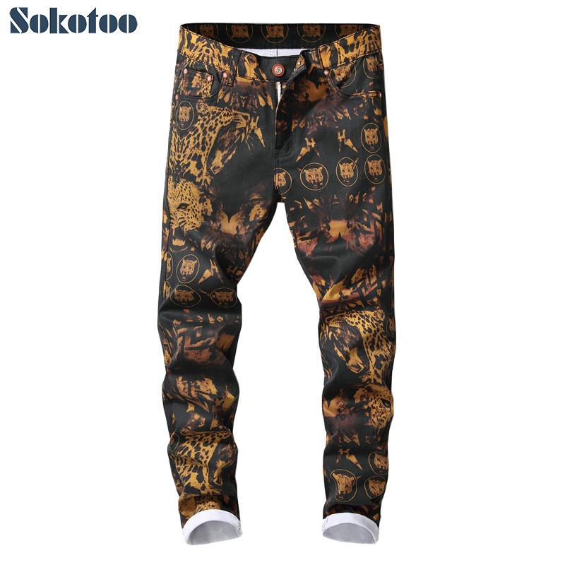 Sokotoo Men's leopard printed   jeans   Trendy colored drawing slim fit straight pants