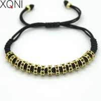 Mode Frauen Macrame Armbänder, 6 MM Gold Farbe Mikro Pflastern Schwarz CZ Stopper Perlen Strang Macrame Charme Armband Für frauen