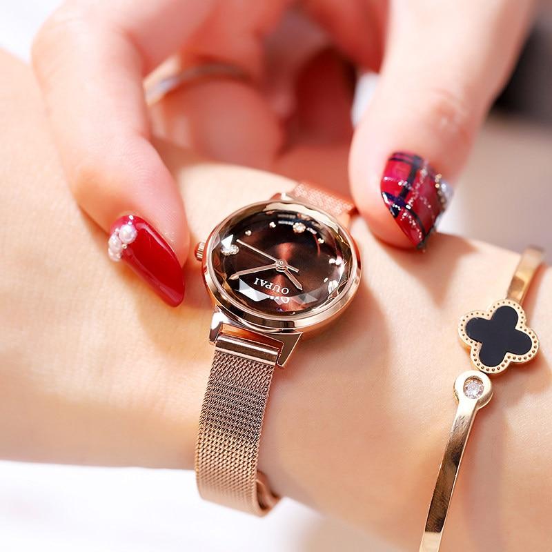 2019 OUPAI Womens Luxury Fashion Watches Diamond Glass Quiz Watch Leather Strap Watch Relogio Feminino  Milanese Steel Strap diamond stylish watches for girls