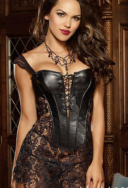 Black and red  Ladies Faux Leather Sexy Overbust Lace Floral Boned Corset Bustier Top Dress S-6XL