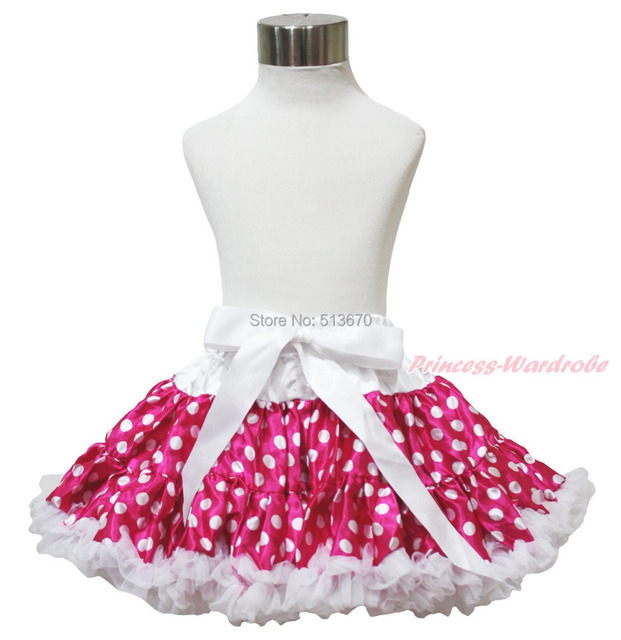 Easter Hot Pink White Polka Dot Chiffon Pettiskirt Skirt Bow Dance Tutu Girl 1-8Y MADRE0035