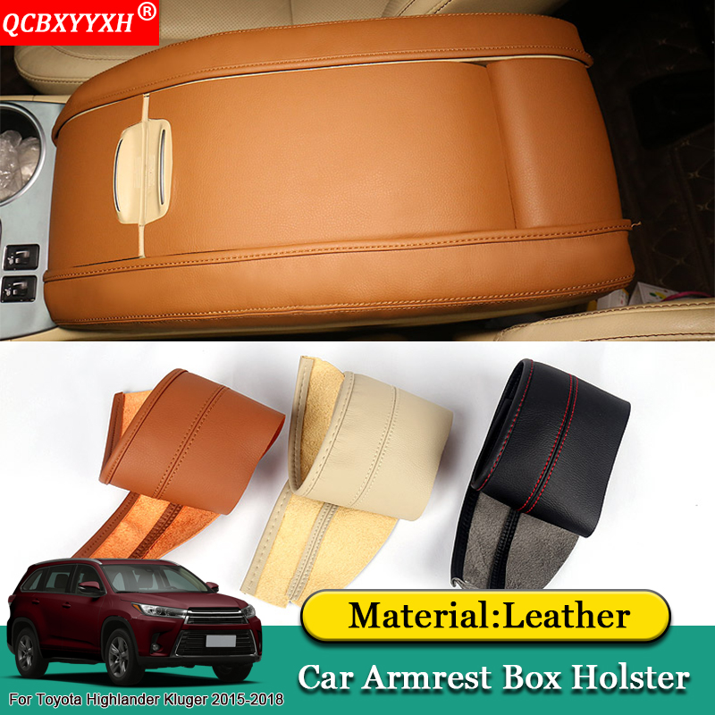 QCBXYYXH Car Styling Pad Cover Leather Storage Protection Cushion Seat Armrest Box Pads For Toyota Highlander Kluger 2015-2018