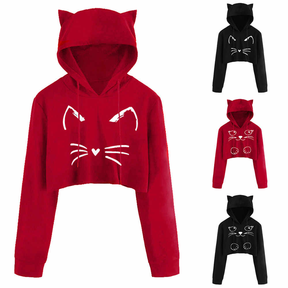 ... 3D Cat ears Print Short hooded Sweatshirt Women Sexy Casual Long Sleeve  Hoodies Blouse cropped Top e28fe98f3615