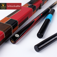 Weichster 3/4 Jointed Handmade Snooker Pool Cue Ash Shaft Purple Heart Wood Case Extension Set