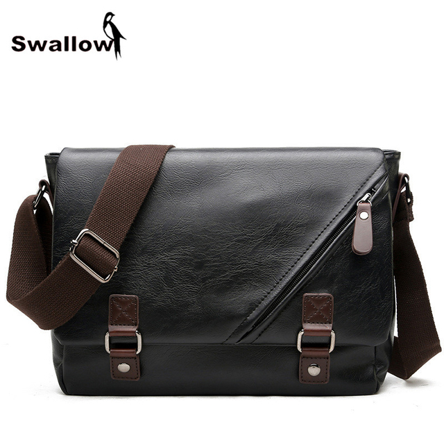 Swallow 2017 Men's Crossbody Bags Leather Casual Shoulder Bags For Men Famous Brand Business Male Envelop Messenger Bags Zipper