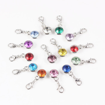 Round Colorful Birthstone Charms Dangle With Lobster Clasp for DIY Jewelry Making 12pcs/lot