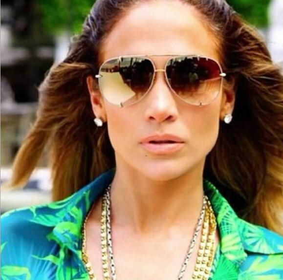 HBK Fashion Oversized Pilot Sunglasses Women UV400 Retro Brand Designer Big Frame Sun Glasses For Female