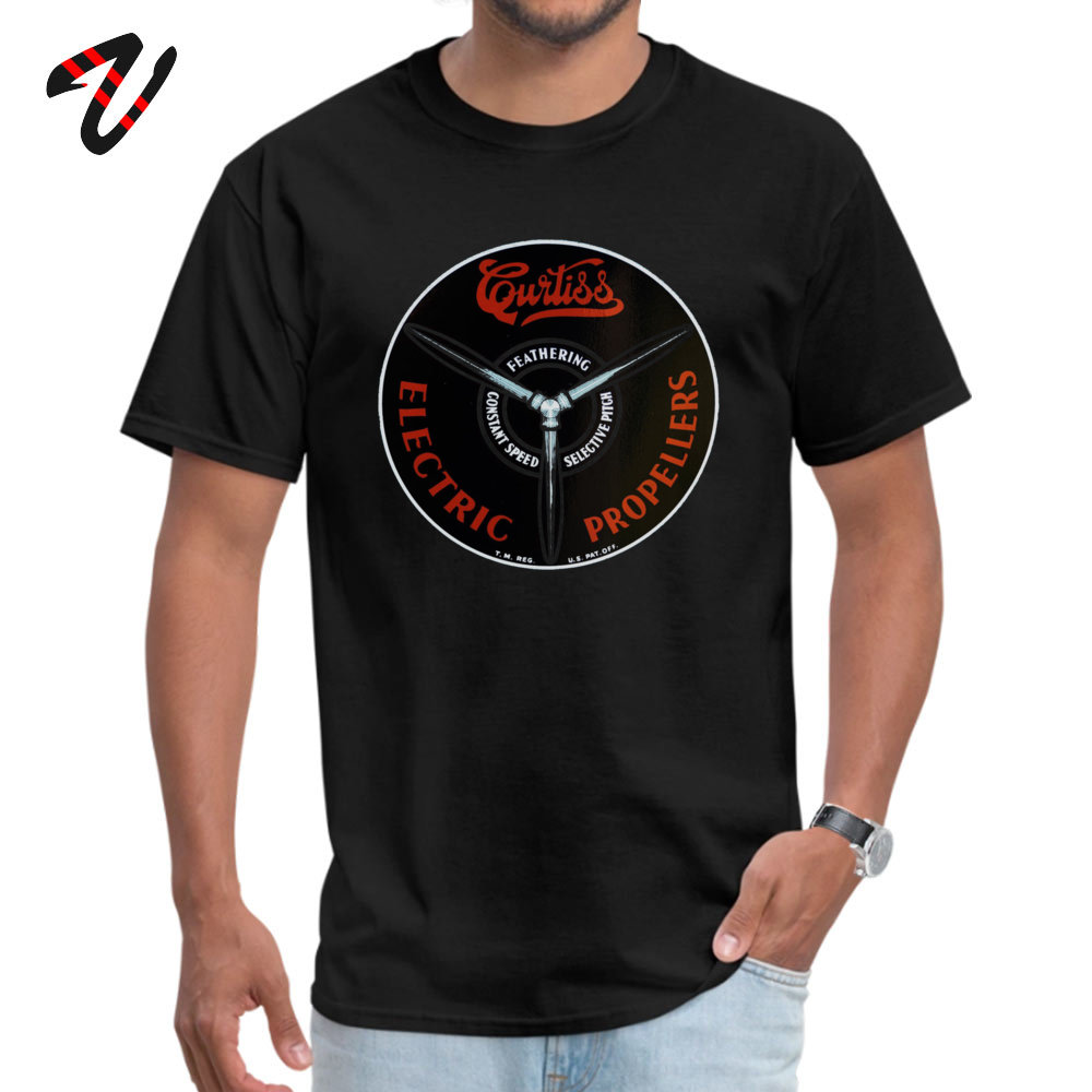 Curtiss Propeller Logo Repro 2019 Geek T Shirt Round Neck Father Day Pure Cotton Short Sleeve T-Shirt for Men Europe T Shirt Curtiss Propeller Logo Repro 1283 black