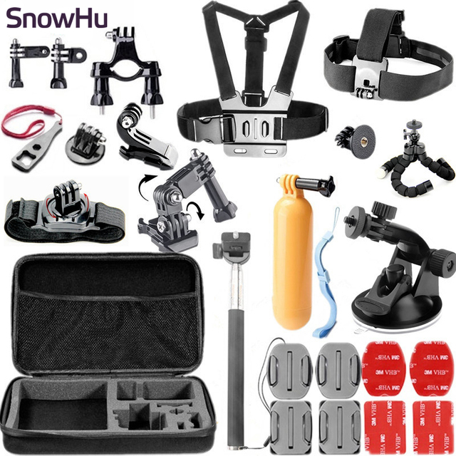 SnowHu For Gopro Accessories 26-in-1 Set Chest Belt Head Mount Strap Suitable to Go pro Hero 5 4 3+ 2 1 xiaomi yi 2 camera GS32