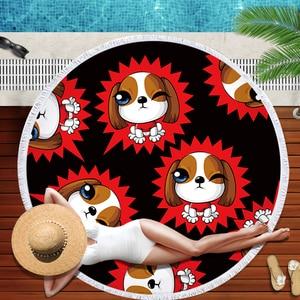 Image 3 - Buldog okrągły ręcznik plażowy z nadrukiem z psem ręczniki plażowe Serviette De Plage duży ręcznik z mikrofibry 150cm kąpiel Toalla dla dzieci