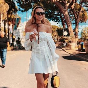 Image 3 - Ootnセクシーなオフショルダーホワイトチュニックドレスプリーツ夏の女性長袖シャツ女性のフリルパーティーミニドレスエレガントな