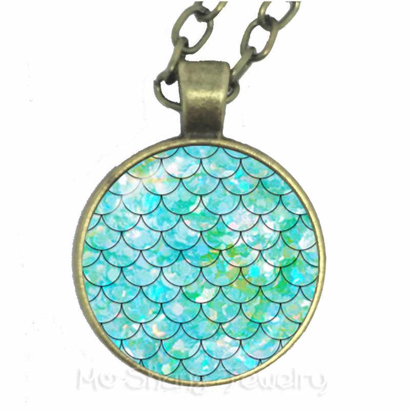 25 มม.แก้ว Cabochon Maxi Bronze/Silver/Golden จี้สร้อยคอเครื่องประดับสำหรับเด็กผู้หญิง Rainbow Mermaid