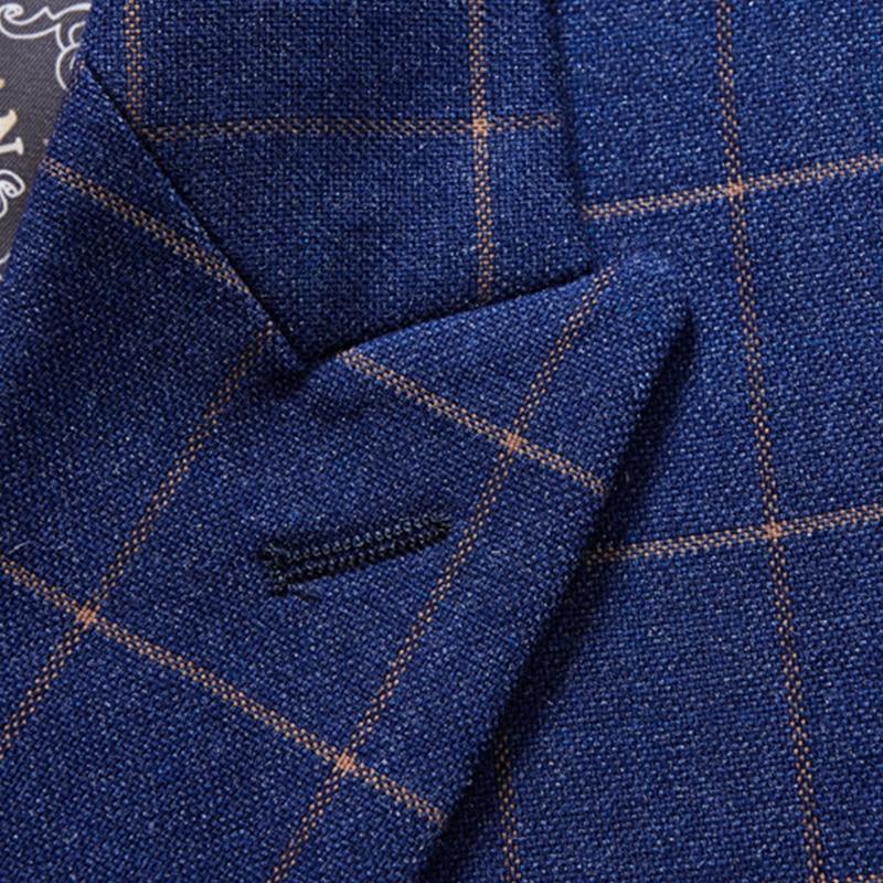 Hommes Slim Costume Bleu À Blue 3 Breasted Britannique Marine Carreaux Style Mariage Fit Double Marque Marié 2019 Pièces navy De Costumes AngEFw