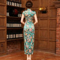 2016 New Qipao Dress Long Chinese Silk Dress Green Chinese Dresses Chinese Traditional Dress Vestido De Festa Qi Pao