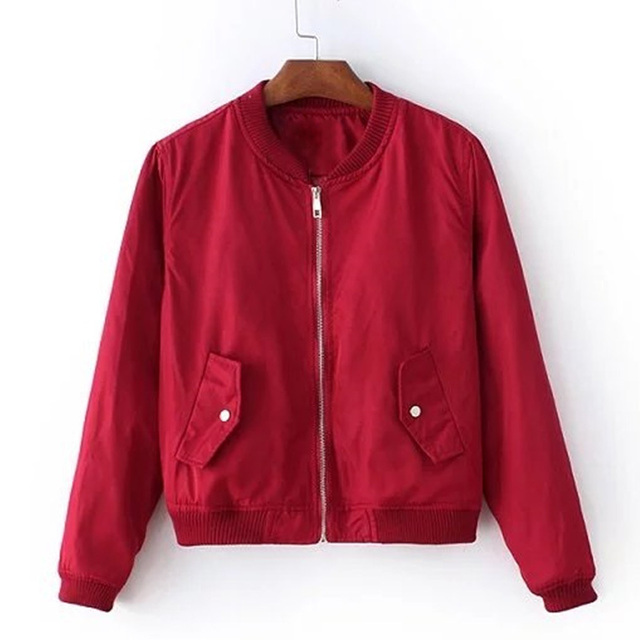 Women biker jacket short coat baseball bomber jackets female ...