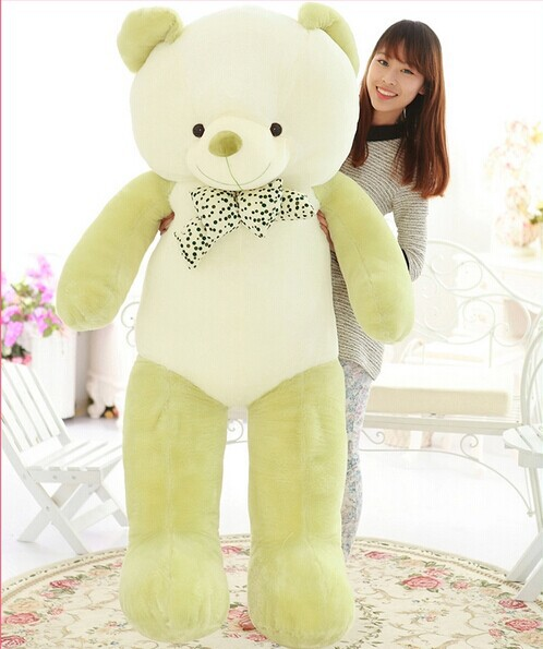 huge lovely new plush Teddy bear toy stuffed light green teddy bear with bow birthday gift about 160cm new creative plush bear toy cute lying bow teddy bear doll gift about 50cm